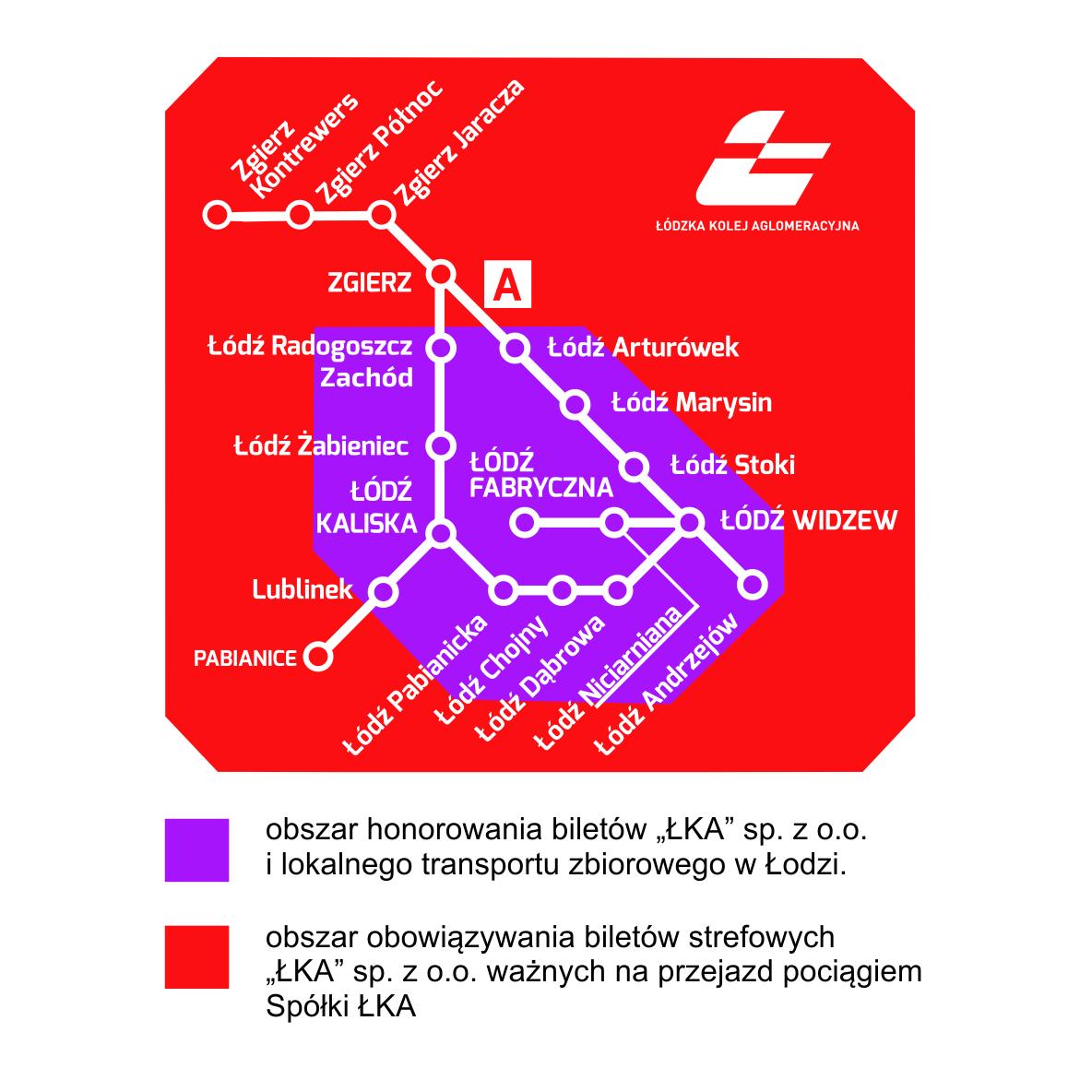 Mapa zasięgu biletów strefowych ŁKA, opis powyżej